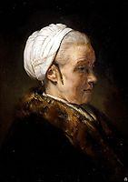 Lighting Study of an Elderly Woman in a White Cap, rembrandt