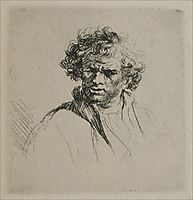 A Man with Curly Hair, 1635, rembrandt