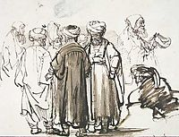 Men in oriental dress and two studies of a beggar in the half figure, 1645, rembrandt