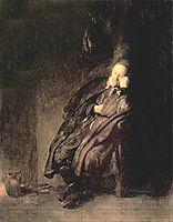 Old man Sleeping, 1629, rembrandt