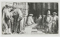 Pharisees in the Temple (Jews in the synagogue), 1648, rembrandt