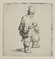 A Polander Walking Towards the Right, 1635, rembrandt