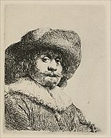 A Portrait of a Man with a Broad Brimmed Hat and a Ruff, 1638, rembrandt