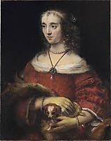 Portrait of a Woman with a Lapdog, 1662, rembrandt