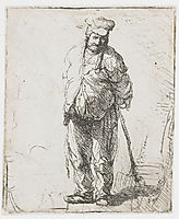 Ragged peasant with his hands behind him, holding a stick, 1630, rembrandt