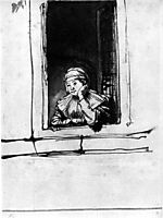 Saskia looking out of a window, 1635, rembrandt