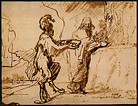 Satan Tempting Christ to Change Stones into Bread, 1640, rembrandt