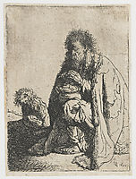 Seated beggar and his dog, 1629, rembrandt