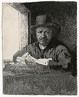 Self-portrait drawing at a window, 1648, rembrandt