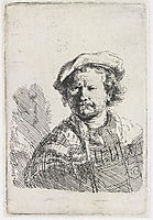 Self-portrait in a flat cap and embroidered dress, 1642, rembrandt