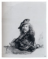 Self-Portrait Leaning On A Stone Sill, 1639, rembrandt