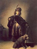 Self-portrait in oriental attire with poodle, 1631, rembrandt