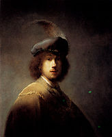 Self-Portrait In A Plumed Hat, 1629, rembrandt