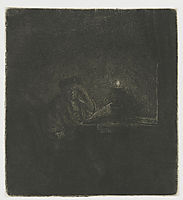 Student at a table by candlelight, 1642, rembrandt