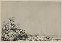 A Village with a River, 1645, rembrandt