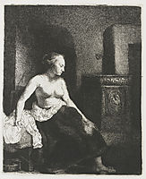 Woman Sitting Half Dressed Beside a Stove, rembrandt