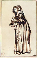 Woman Standing with Raised Hands, rembrandt