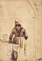 Woman Wearing a Costume of Northern Holland, rembrandt