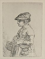 A Young Woman with a Basket, 1642, rembrandt