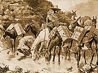 Mule Train Crossing the Sierras, 1888, remington