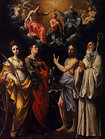 Coronation of the Virgin with St. Catherine of Alexandria, St. John the Evangelist, St. John the Baptist, 1596, reni