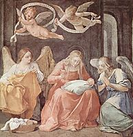 Mary and angels, 1611, reni