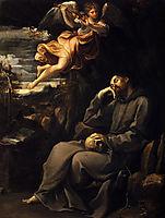 Saint Francis deadened with an angel musician, 1607, reni