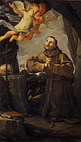St Francis in prayer with Two Angels, 1631, reni