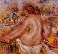 After Bathing, Seated Female Nude, renoir