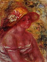 Bust of a Young Girl Wearing a Straw Hat, 1917, renoir
