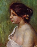 Bust of a Young Woman with Flowered Ear, 1898, renoir
