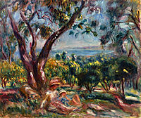 Cagnes Landscape with Woman and Child, 1910, renoir