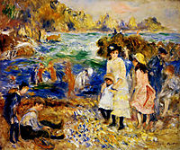Children by the Sea in Guernsey, 1883, renoir