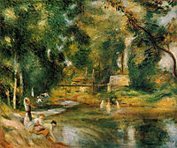 Essoyes Landscape Washerwoman and Bathers, 1900, renoir