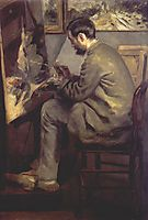 Frederic Bazille Painting The Heron (Frederic Bazille at his Easel), 1867, renoir