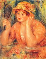 Girl looking into a mirror, c.1912, renoir