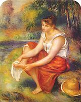 Girl wiping her feet, c.1890, renoir