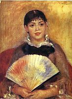 Girl with a Fan ( Alphonsine Fournaise), 1880, renoir