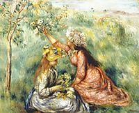 Girls picking flowers in a meadow, c.1890, renoir