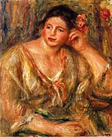 Madeleine Leaning on Her Elbow with Flowers in Her Hair, 1918, renoir