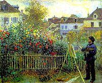Monet painting in his garden at Argenteuil, 1873, renoir
