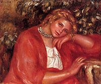 Pensive Young Woman Leaning on Her Elbow, c.1908, renoir