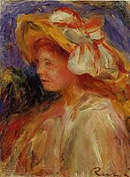 Profile of a Young Woman in a Hat, renoir
