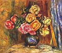 Roses in front of a blue curtain, 1908, renoir