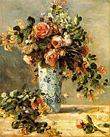 Roses and Jasmine in a Delft Vase, 1881, renoir