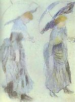 Two Women with Umbrellas, renoir