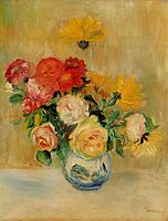 Vase of Roses and Dahlias, 1884, renoir