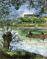 Willows and Figures in a Boat, c.1880, renoir