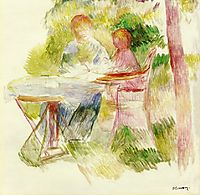 Woman and Child in a Garden, 1880, renoir