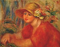 Woman in a hat with flowers, 1917, renoir